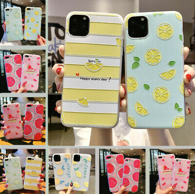 For iPhone 11 Pro Max XS X 8 6 7 Plus Cute Fruits Pattern Relief Soft Case Cover