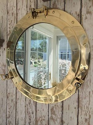 "20"" Brass Porthole Mirror ~ Nautical Maritime Wall Decor ~ Ship Cabin Window"