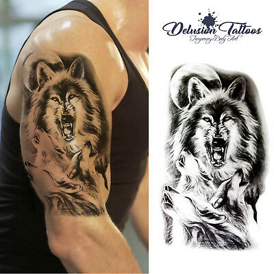 Wolf Temporary Tattoo Body Art Mens, Womens, Stick On Tattoo Howling Wolves