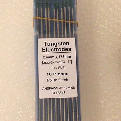 "TIG Welding Tungsten Electrodes Pure 3/32"" x 7"" (Green WP)(2.4 X 175mm) 10 pack"