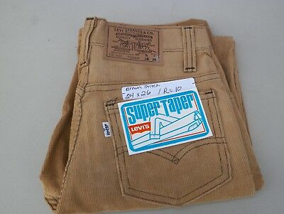 "Levi's Super Taper Corduroy Vintage Tan Cords Pants  Waist 24"" Inseam 26"""