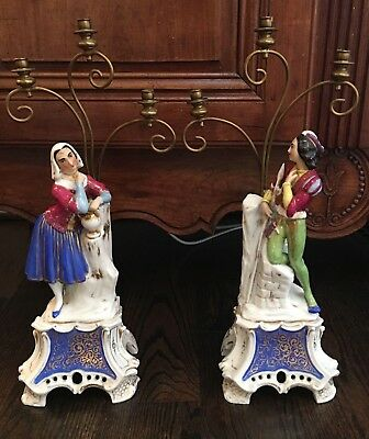 Pair 19th Century French OLD PARIS Porcelain Figural Candelabra