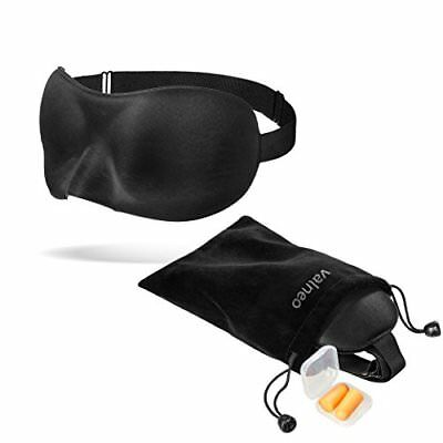 Valneo Sleeping Mask with Adjustable Elastic Strap, Velvet Bag and Ear Plugs for