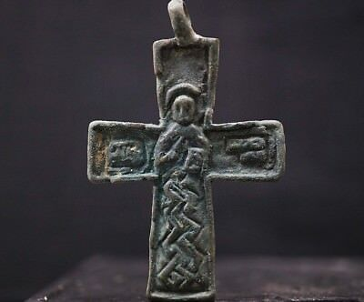 The Vikings. Ancient Bronze Cross Amulet. Pendant with Norse Saint, c 950-1000Ad