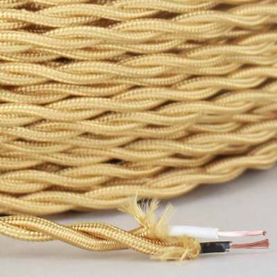 ANTIQUE BRASS ~ Vintage Style Cloth  Lamp Wire ~ Cord ~ by PLD