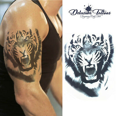 Angry Roar Tiger Temporary Tattoo Body Art Mens, Womens, Stick On Tattoo