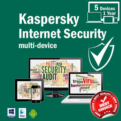 Kaspersky Internet Security 2018 5PC   Devices 1 Year License Download