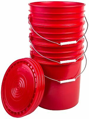 Hudson Exchange Bucket with Handle and Lid, 5 Gallon, Red, 3 Pack