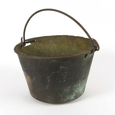 Antique brass bucket jelly kettle fireplace pail hand forged iron handle as is