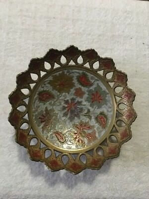 Decorative Brass Pedestal Dish Cloisonne Enamel Pierced Perforated Candy