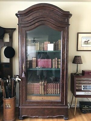 French Plum Pudding Mahogany Antique Armoire/Bookcase