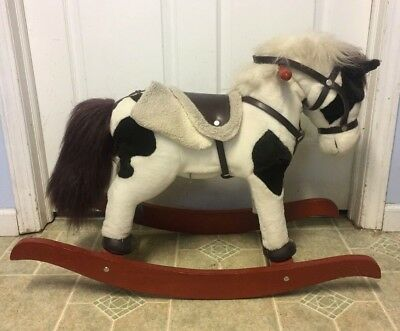 Chrisha Playful Plush Rocking Horse Child Toddler Neighs Wood Rockers Boy Girl