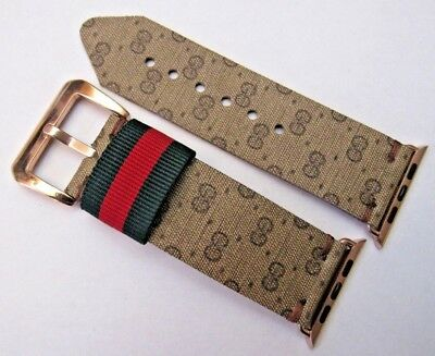 Gucci Upcycled Handmade Gg Monogram Signature Strap/band For 42 Mm Apple Watch