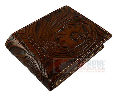 Western Bi-Fold Men's Wallet Genuine Tooled Brown Leather Floral MW3688-B