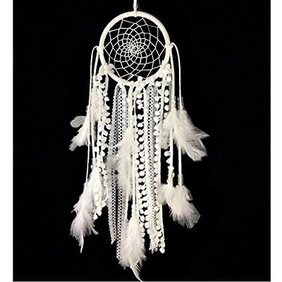 Dream Catcher Handmade Traditional White Feather Wall Hanging Car Home Ornament