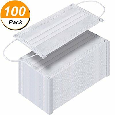 100 Pack Disposable Face Masks Breathable Dust Filter Masks Mouth Cover ...