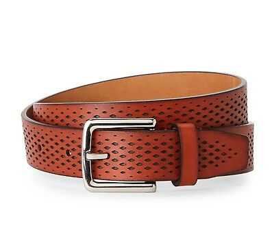 Cole Haan Washington Grand Laser Cut Perforated Leather Belt In British Tan Nwt