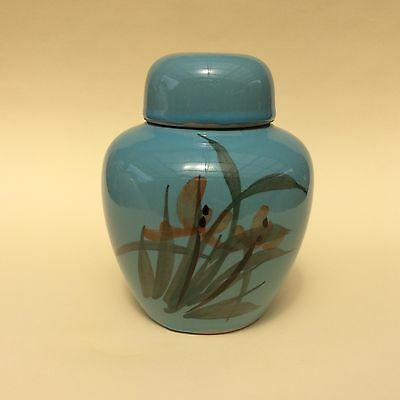 RETRO GINGER JAR CHINESE EARTHENWARE Lidded Painted Red Flowers on Blue