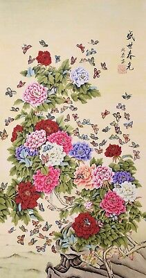 HANDPAINTED ORIGINAL ART CHINESE WATERCOLOR PAINTING-Beautiful flaower&butterfly
