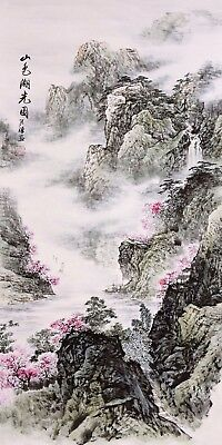 STUNNING ORIGINAL ASIAN ART CHINESE SANSUI WATERCOLOR PAINTING-Mountains&flower