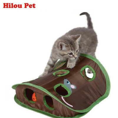 Multi-function Pet Cat Kitten Interactive Playing Bells Mouse Folding Hidden Toy