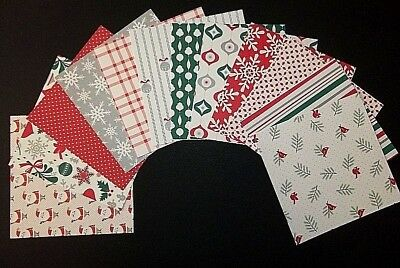 TRADITIONAL CHRISTMAS x 12 -  Quality Christmas papers  - 15cm x 15cm  (6 X 6)