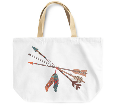 Tote Bag Tribal native arrow feathers Durable Canvas Shopping Bag Daily Use
