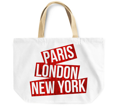 Tote Bag Paris London Newyork Durable sturdy Grocery Shopping Bag Everyday Use