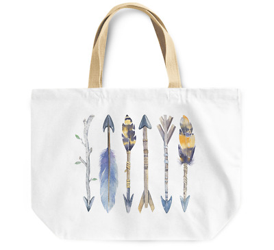 Tote Bag Native indian feather arrows tibal feathers watercolor Durable Bag