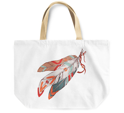 Tote Bag Native indian theme feathers Durable Canvas Shopping Bag Daily Use