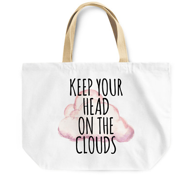 Tote Bag Keep your head on the clouds Durable sturdy Grocery Shopping Bag