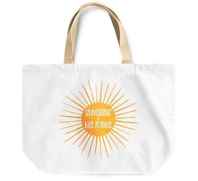 Tote Bag Sunshine is Delicious Durable sturdy Grocery Shopping Bag Everyday Use