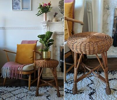 BOHO vtg 1970s FRANCO ALBINI STYLE RATTAN FOOT STOOL 1960s CANE PLANT STAND