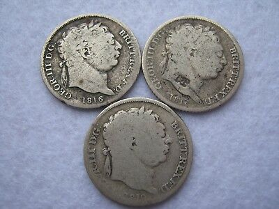 3x King George III silver sixpence coins - 1816 1817 & 1819 (21)