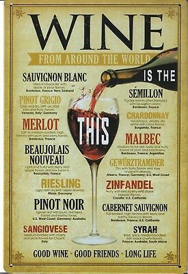 New Vintage Style Retro Metal Wall Hanging Sign Wine From Around The World