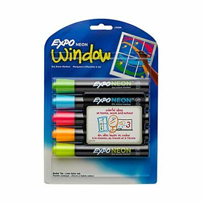 Expo 1752226 Neon Dry Erase Markers, Bullet Tip, Assorted Colors, 5-Count *New*