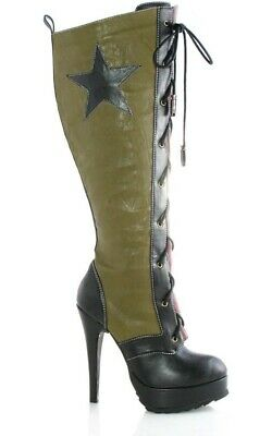 Adult Womens Military Army High Heel Boots Fancy Dress Halloween Costume