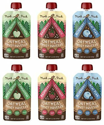 Munk Pack Oatmeal Fruit Squeeze   Variety Pack, Ready-To-Eat Oatmeal On The Go,
