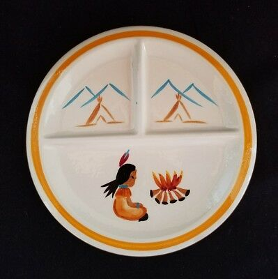 Rare Vintage Stangl Kiddieware Indian Campfire Divided Platter Plate Dish #3916
