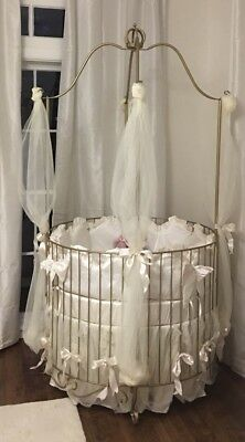 PRINCESS HAND FORGED New Wrought Iron round canopy crib in a gold metal  finish