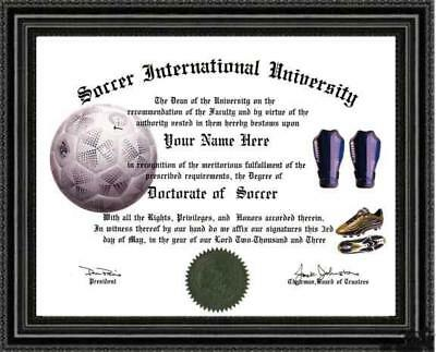 Soccer Lover's Doctorate Diploma / Degree Custom made & Designed for you UNIQUE