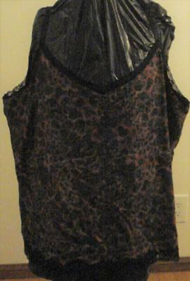 Beverly Drive Women's V-Neck Lace Animal Print Camisole - Size 3x - BRAND NEW WT