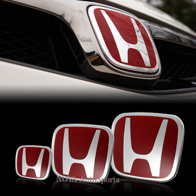 Red NEW Front + Rear +Steeriing JDM Emblem For CIVIC 5DR HATCH 2016 2017 2018