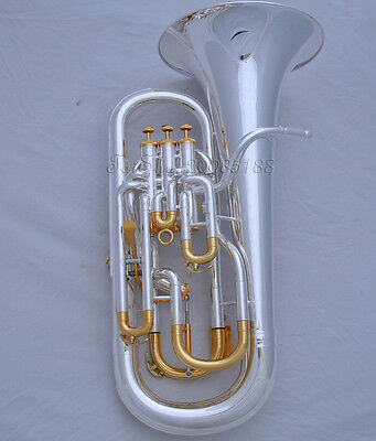 Professional Compensating system Silver Gold plate Euphonium Piston +Wheel case