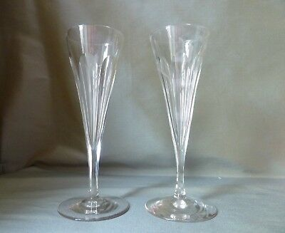 2 Antique Victorian/Edwardian Crystal Champagne Glasses Flutes, h17,4cm