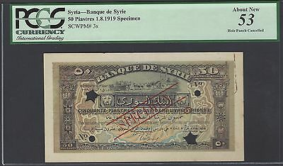 Syria 50 Piastres 1-8-1919 P3s Specimen About Uncirculated