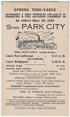RARE - 1923 Steamer Park City - Bridgeport CT Port Jefferson NY Time Table  Cars