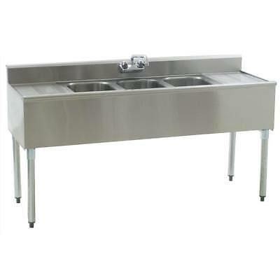 """Stainless Steel 3 Compartment Underbar Sink 72"""" x 20"""" with 2 Drainboards"""