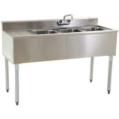 """Stainless Steel 3 Compartment Underbar Sink 60"""" x 20"""" with Left Drainboard"""