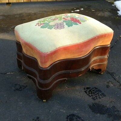 Antique American Empire Needlepoint Foot Stool
